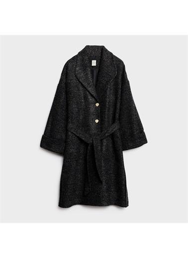 Yargıcı Kemer Detaylı Rahat Form Palto Antrasit